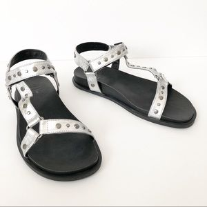 LFL Veda Ankle Strap Wedge Sandal in Silver